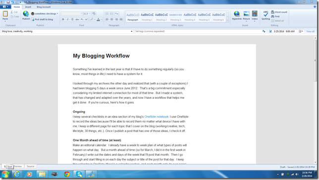 blogging workflow writer